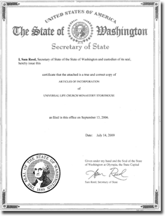 Articles of Incorporation cover page